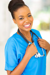 young african nurse in hospittal