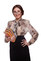 schoolgirl student teacher woman in glasses girl with books isol