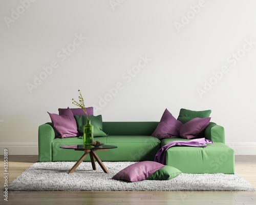 Elegant contemporary fresh interior with green sofa