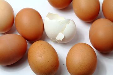 Weißes zerbrochenes Ei unter braunen Eiern