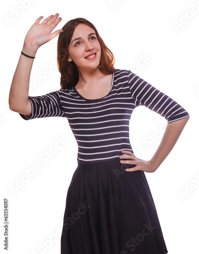 woman waving brunette smiling girl isolated on white background
