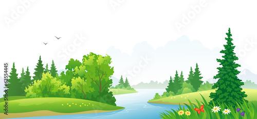 Forest river scene - 63554445