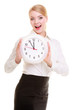 Portrait businesswoman showing clock. Time for woman in business