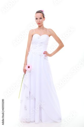 Wedding day. Romantic bride with pink flower isolated