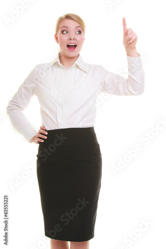 Business woman pressing button pointing at something isolated
