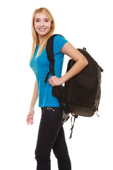Blond smiling girl female student with bag backpack isolated