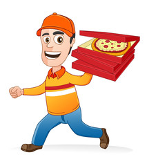 Pizza delivery man running by holding boxes of pizza