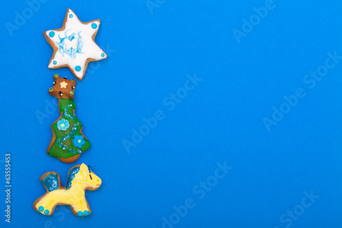 Gingerbread cookies pony christmas tree star icing decoration