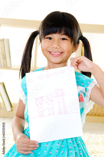 Asian girl showing her drawing of family members.