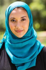 Muslim woman closeup portrait outdoors