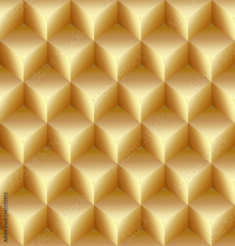 Vector abstract gold seamless pattern made from stacked cubes