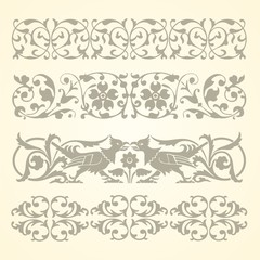 Set vintage ornate border frame filigree