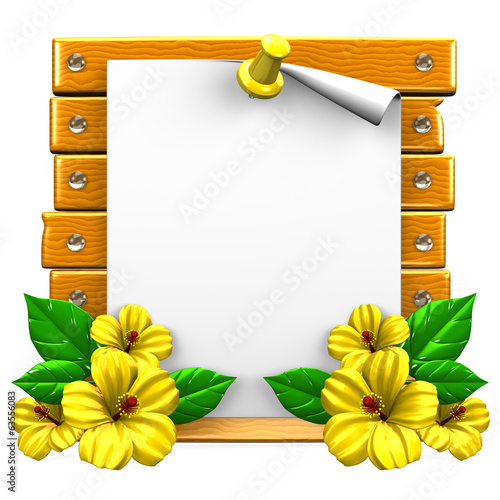 White Paper On Wooden Board With Yellow Hibiscuses