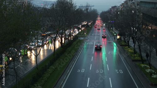 time lapse city traffic at Istanbul, zoom in tracking shot