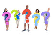 Group of People Holding Question Mark