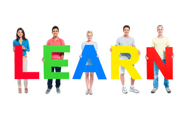 Group of People Holding Learn