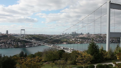 time lapse traffic on the Bridge at Istanbul, dolly shot
