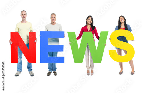 Group of People Holding News
