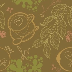 cup coffee and coffee limb wallpaper Seamless  background