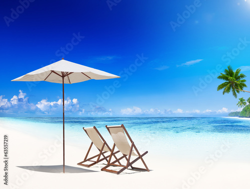 Deck Chair on Tropical Beach