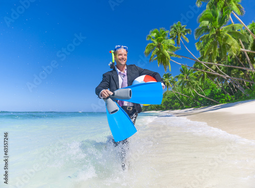 Businessman Enjoying on the Beach