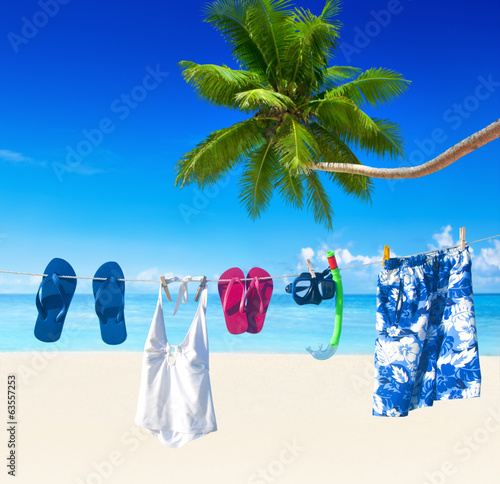 Clothesline on Tropical Beach