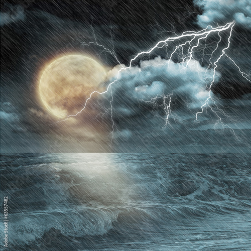 Boat in storm  evening on ocean and the moon - 63557482