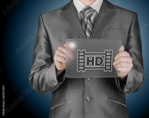 hd icon on futuristic glass tablet
