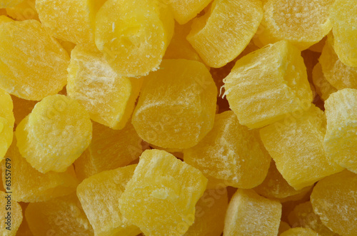 Dried pineapple close up picture