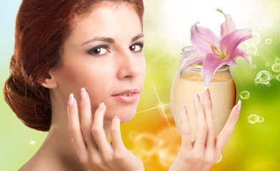 Beauty Girl Portrait. Beautiful Spa Woman.Natural Cream
