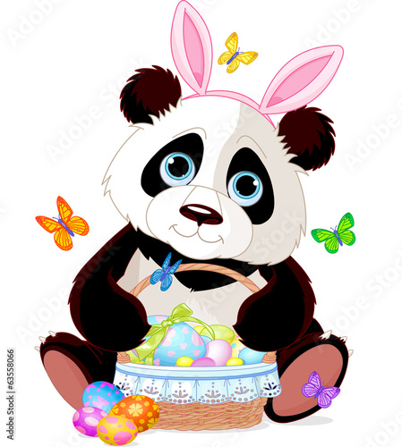 Cute Panda with Easter basket