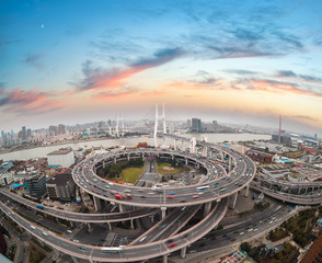 aerial view of shanghai nanpu bridge in sunset