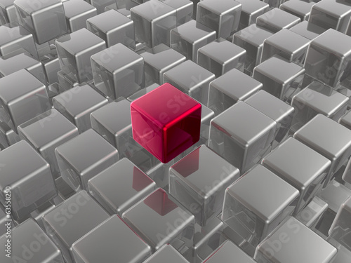 Red and grey cubes