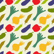 Seamless pattern with silhouettes vegetables. Pepper. Cucumber.