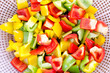 Colorful sliced and crop bell peppers closeup