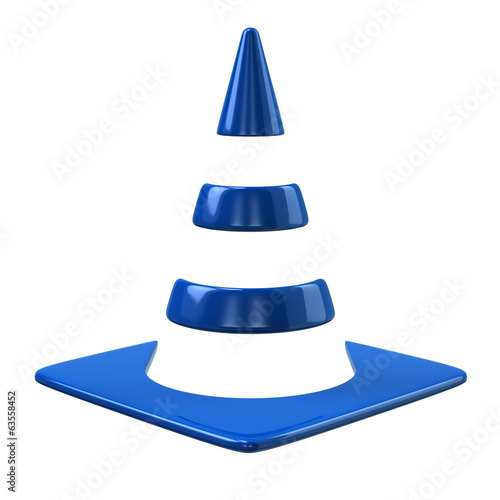 Blue traffic cone icon