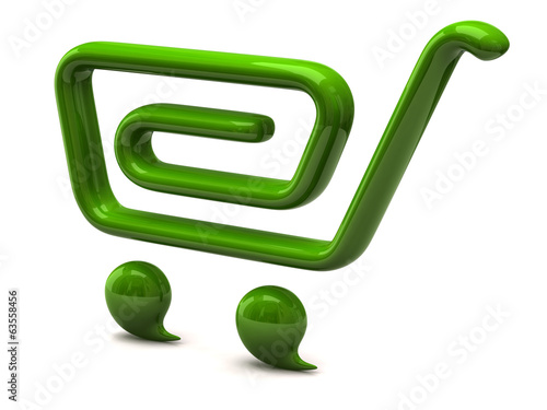 Green shopping cart icon on white background
