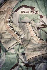 Combat boots against Air Force desert uniform