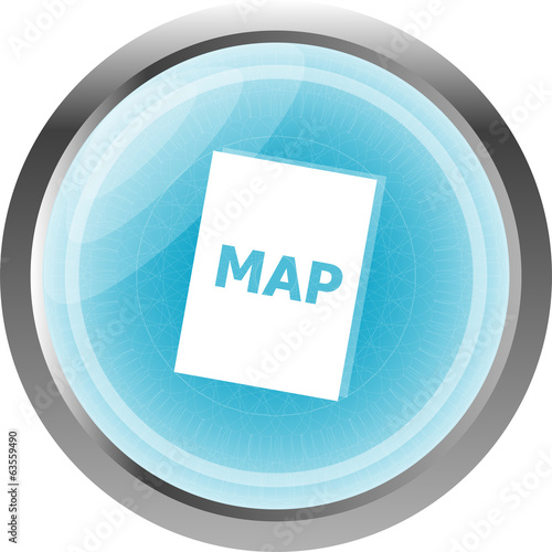 map icon web button with map isolated on white