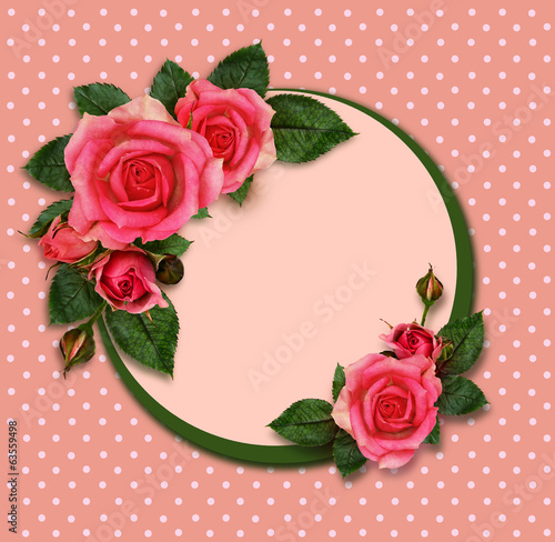 Rose flowers composition and holiday frame