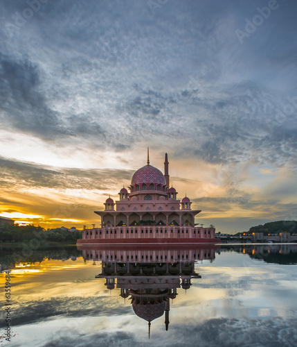 Putra Mosque in the morning hours, Putrajaya, Malaysia