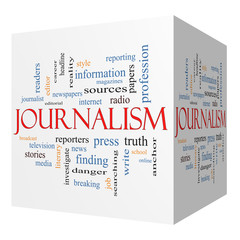 Journalsim 3D cube Word Cloud Concept