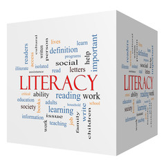 Literacy 3D cube Word Cloud Concept