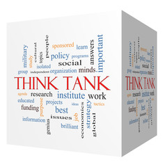 Think Tank 3D cube Word Cloud Concept