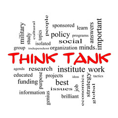Think Tank Word Cloud Concept in red caps