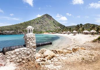 Santa Cruz a free local beach on Curacao, Caribbean