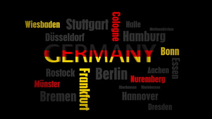 Germany Cities Word Cloud on Black
