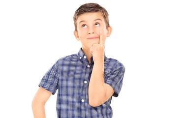 Little boy thinking isolated on white background
