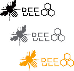 Set of stylized bee icons