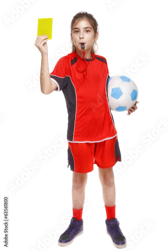 Kd in sportswear holding soccer ball and giving yellow card isol